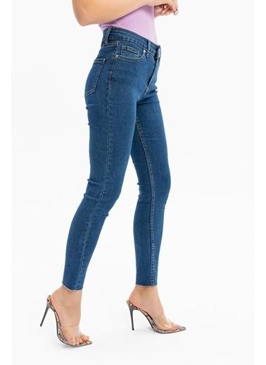 Tiffany&Tomato Paçası Kesik Yüksek Bel Skinny Jean Pantolon - Siyah Mavi